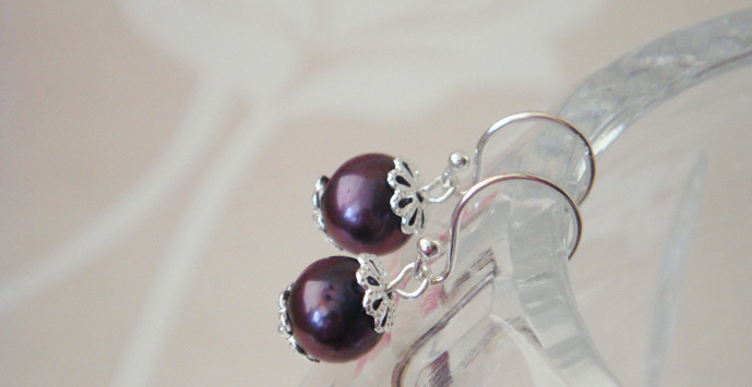 Handmade Pearl and Silver Earrings